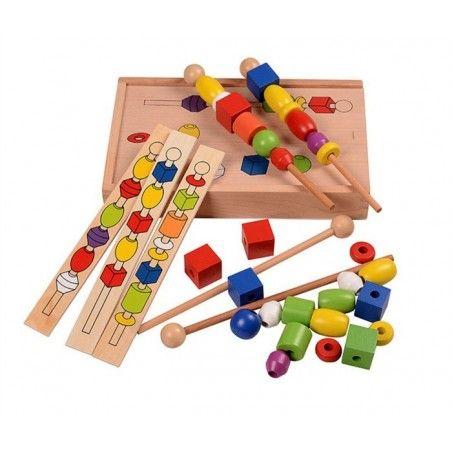 Jucarie Montessori din lemn - Insira bilele pe bete [0]