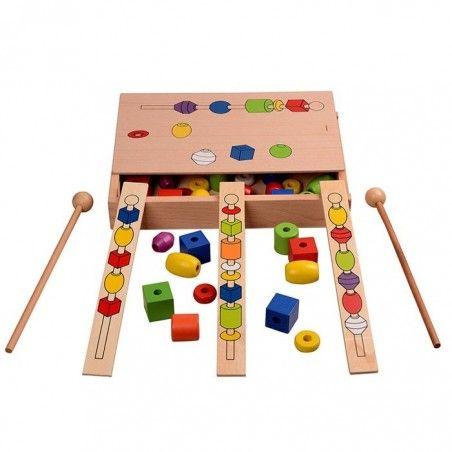 Jucarie Montessori din lemn - Insira bilele pe bete [2]