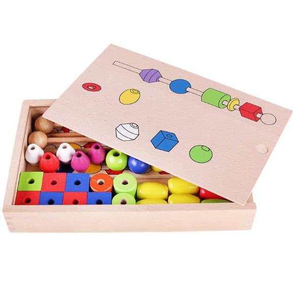 Jucarie Montessori din lemn - Insira bilele pe bete [4]