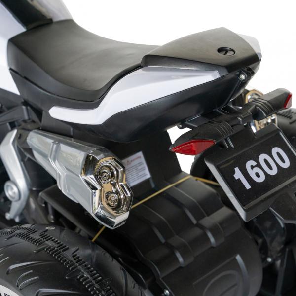Motocicleta electrica copii cu acumulator, muzica si lumini, culoare alb/negru [4]