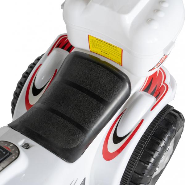 Motocicleta electrica copii cu acumulator, muzica si lumini, culoare alb 7