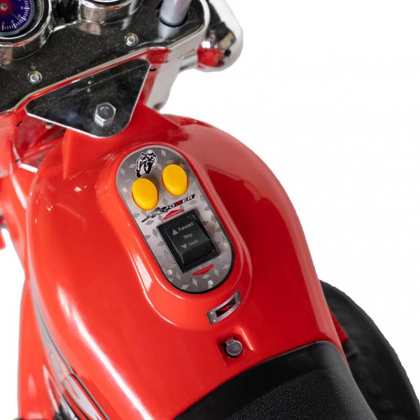 Motocicleta electrica copii cu acumulator, muzica si lumini, culoare alb/negru 5