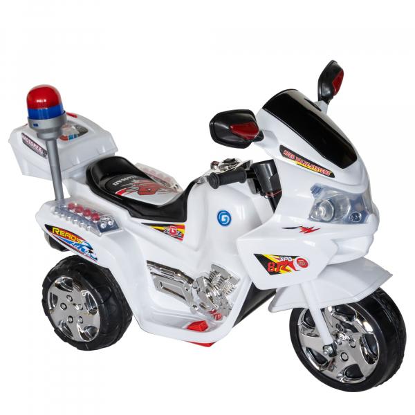 Motocicleta electrica copii cu baterie, muzica si girofar, culoare alb 0