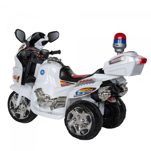 Motocicleta electrica copii cu baterie, muzica si girofar, culoare alb 3
