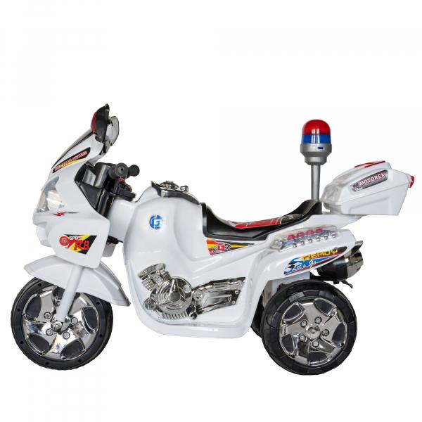 Motocicleta electrica copii cu baterie, muzica si girofar, culoare alb 2