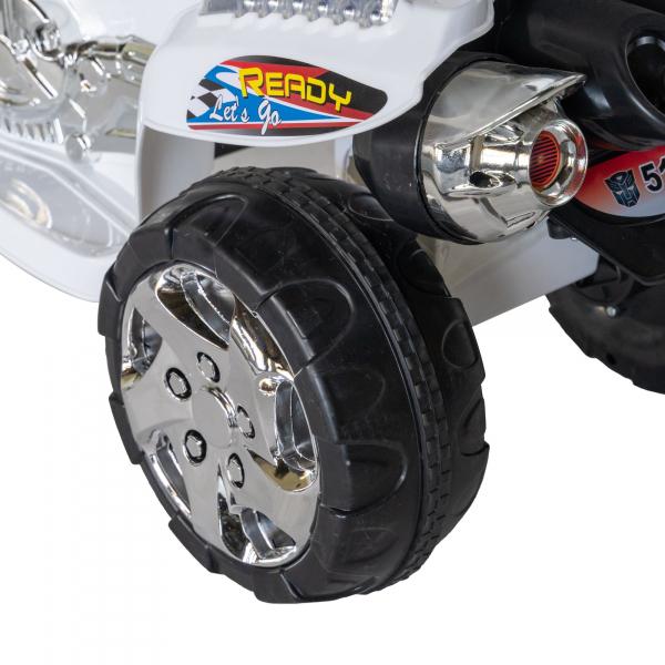 Motocicleta electrica copii cu baterie, muzica si girofar, culoare alb 7