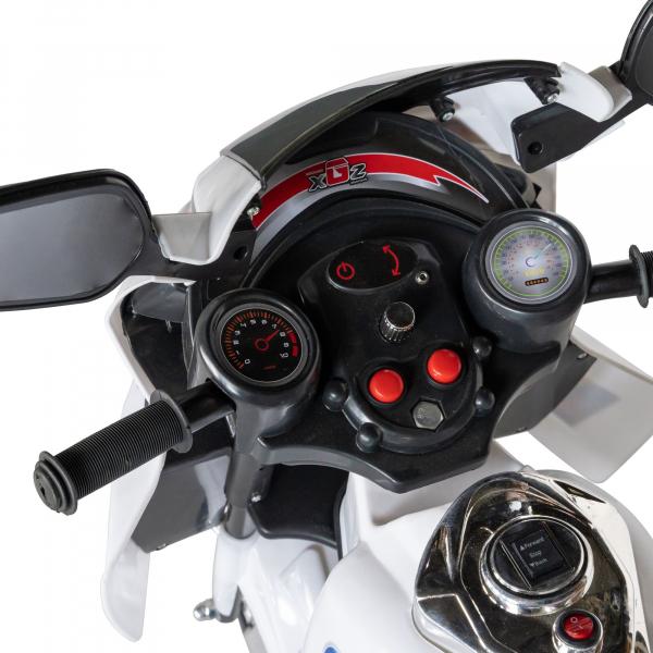 Motocicleta electrica copii cu baterie, muzica si girofar, culoare alb 5
