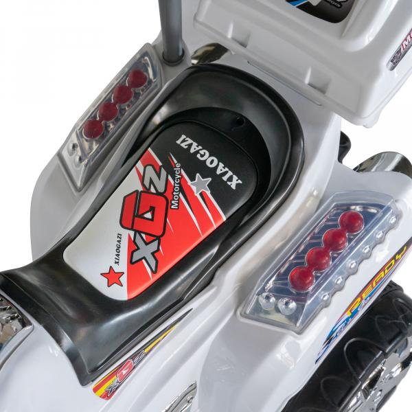 Motocicleta electrica copii cu baterie, muzica si girofar, culoare alb 6
