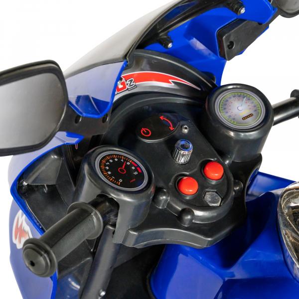 Motocicleta electrica copii cu baterie, muzica si girofar, culoare albastru 8