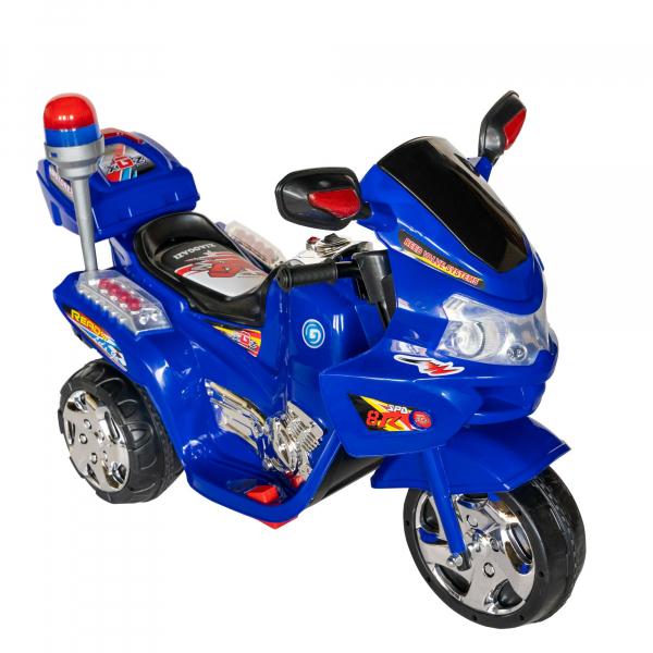Motocicleta electrica copii cu baterie, muzica si girofar, culoare albastru 1