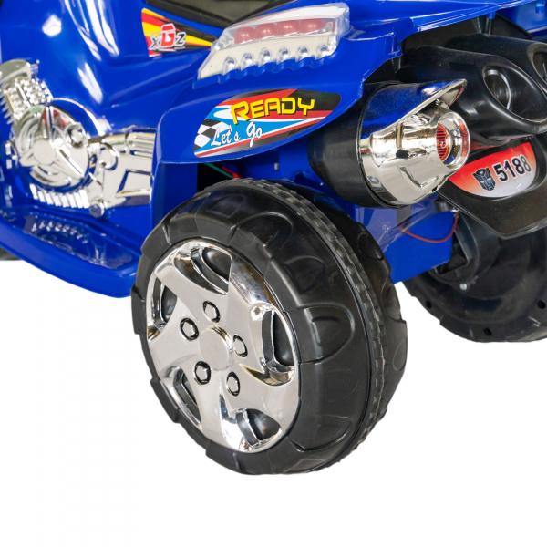 Motocicleta electrica copii cu baterie, muzica si girofar, culoare albastru 5