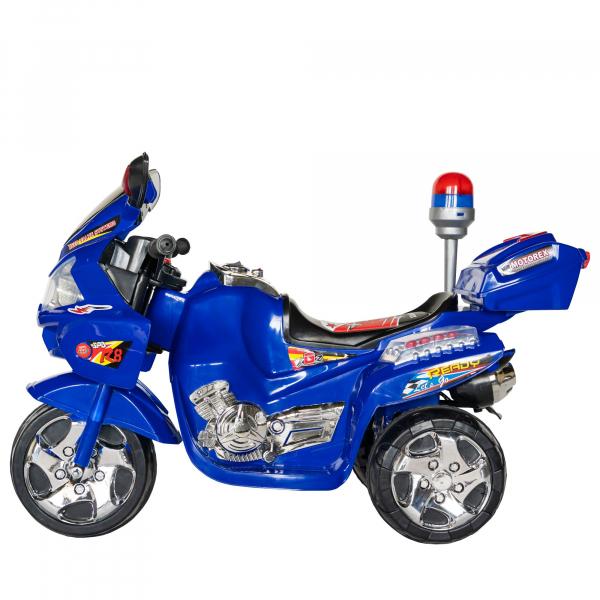 Motocicleta electrica copii cu baterie, muzica si girofar, culoare albastru 3