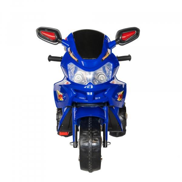 Motocicleta electrica copii cu baterie, muzica si girofar, culoare albastru 2