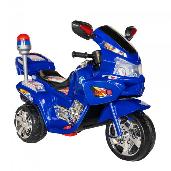 Motocicleta electrica copii cu baterie, muzica si girofar, culoare albastru 0
