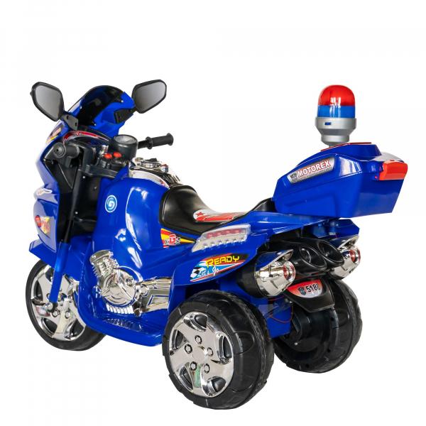 Motocicleta electrica copii cu baterie, muzica si girofar, culoare albastru 4