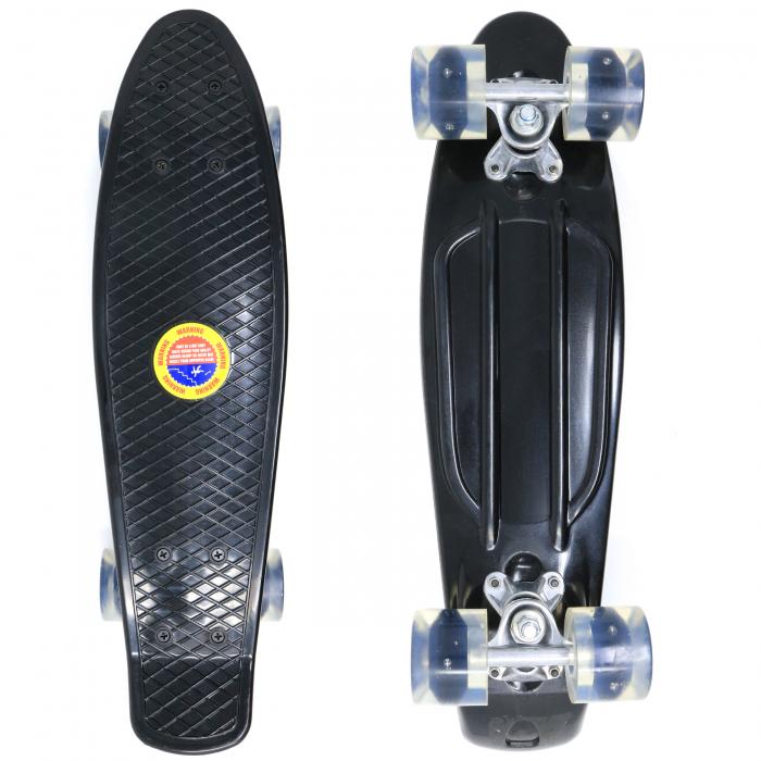 Skateboard copii cu Luminite, Penny Board, Roti din silicon cu lumini LED, ABEC-7 22 inch - negru [0]