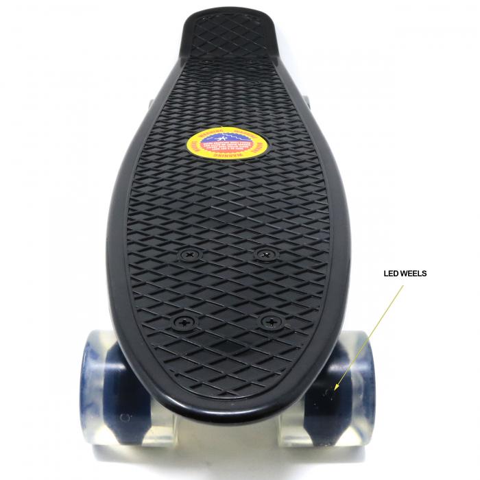 Skateboard copii cu Luminite, Penny Board, Roti din silicon cu lumini LED, ABEC-7 22 inch - negru [2]