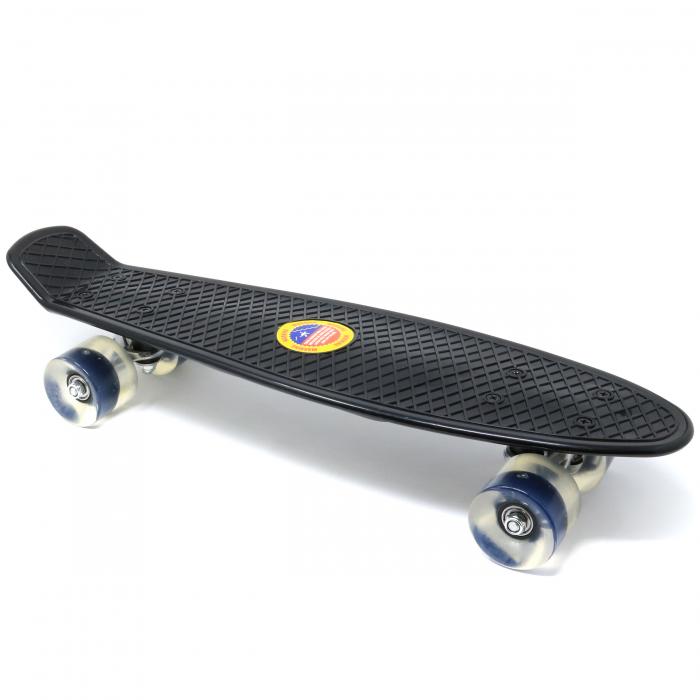 Skateboard copii cu Luminite, Penny Board, Roti din silicon cu lumini LED, ABEC-7 22 inch - negru [1]