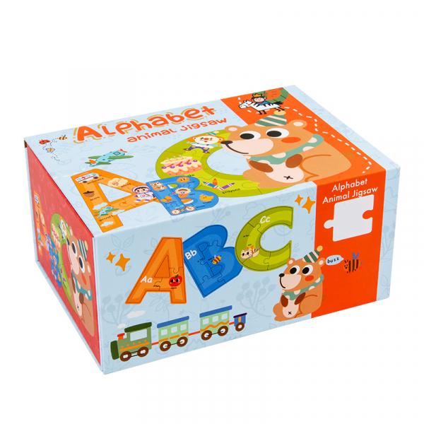 Cutie set cu Puzzle piese mari Alfabetul – 26 litere 0