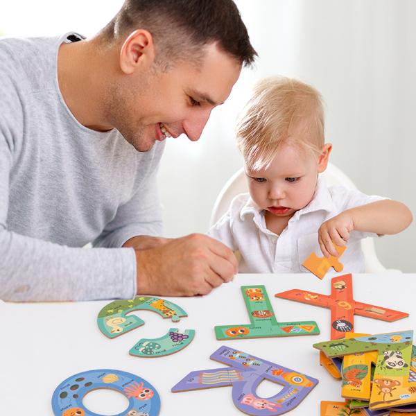 Cutie set cu Puzzle piese mari Alfabetul – 26 litere 1