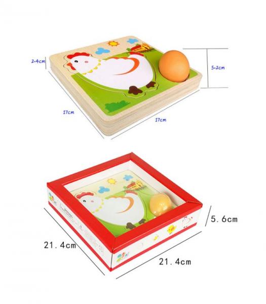 Puzzle incastru din lemn multistrat - Ciclul de viață al găinii 4