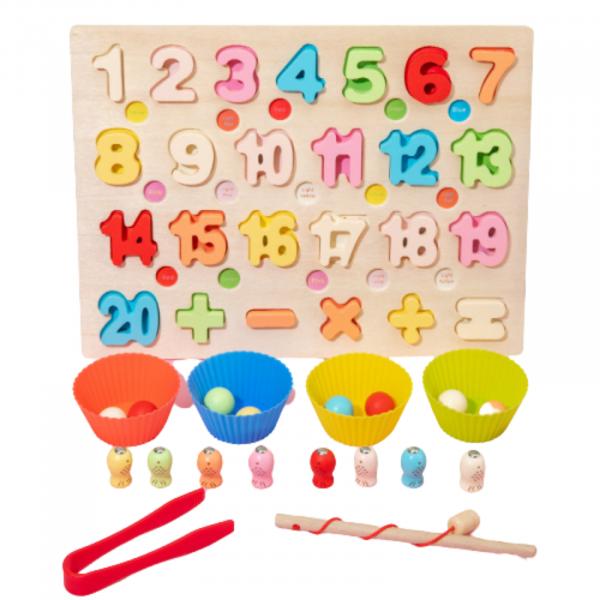 Puzzle 3D din lemn 3 în 1 - cifre, joc pescuit și sortare bile colorate 2