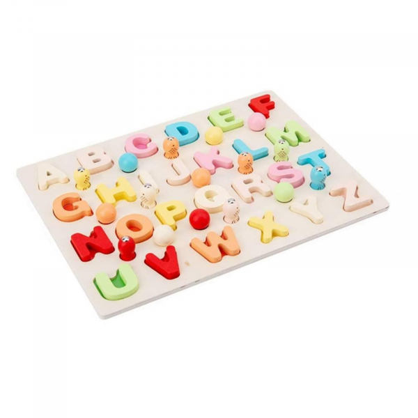 Puzzle 3D din lemn 3 în 1: Litere, joc pescuit și sortare bile colorate [4]