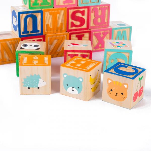 Set 26 cuburi din lemn pentru construit, cu litere, cifre și animale 1
