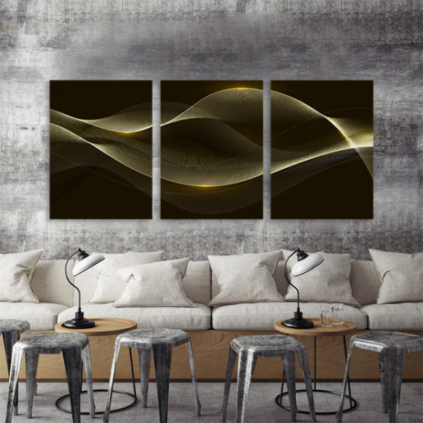 SET 3 Tablouri canvas - GOLDEN WAVES 0