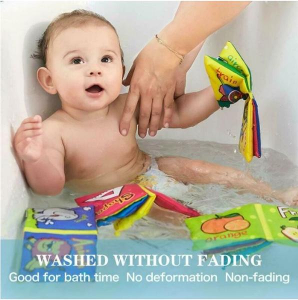 Set 6 cărți senzoriale, textile pentru bebeluși, Topbright, 0 luni+ 1