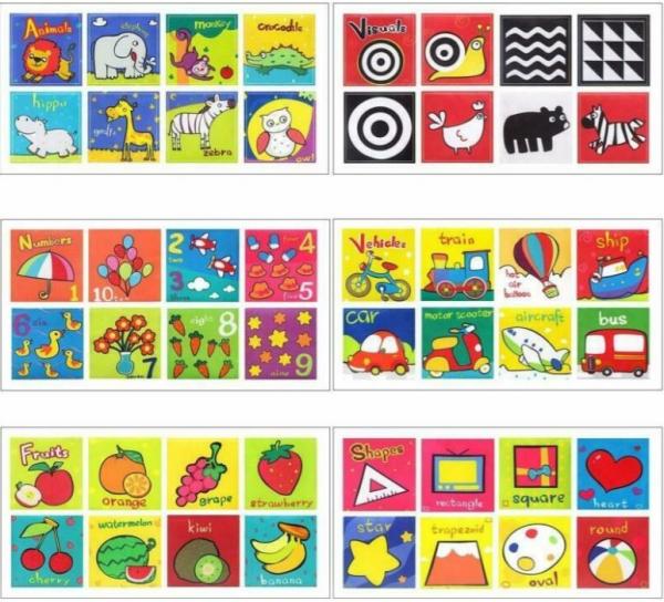 Set 6 cărți senzoriale, textile pentru bebeluși, Topbright, 0 luni+ 3