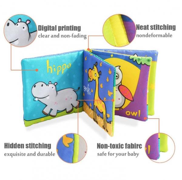 Set 6 cărți senzoriale, textile pentru bebeluși, Topbright, 0 luni+ 2