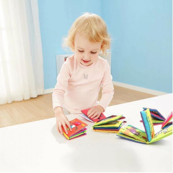 Set 6 cărți senzoriale, textile pentru bebeluși, Topbright, 0 luni+ 5
