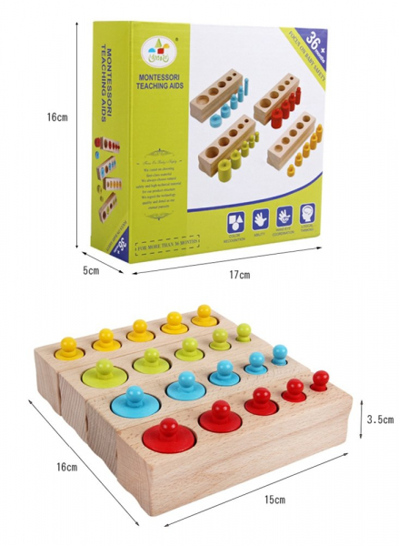 Cilindrii Montessori - cilindrii colorați din lemn 4