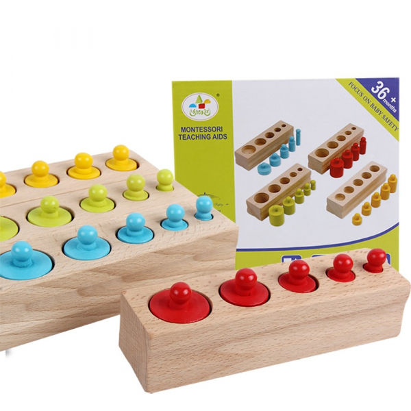 Cilindrii Montessori - cilindrii colorați din lemn 5