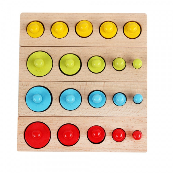 Cilindrii Montessori - cilindrii colorați din lemn 1
