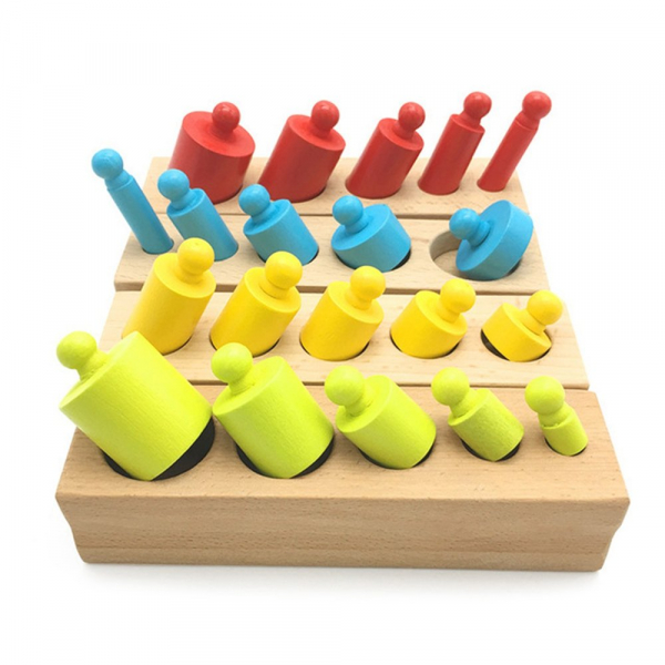 Cilindrii Montessori - cilindrii colorați din lemn 0