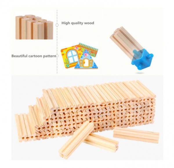 """Set de 268 de piese de construit din lemn natural pentru copii, """"Micul Arhitect"""", educational si creativ cu diferite ilustratii 5"""