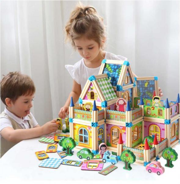 """Set de 268 de piese de construit din lemn natural pentru copii, """"Micul Arhitect"""", educational si creativ cu diferite ilustratii 2"""