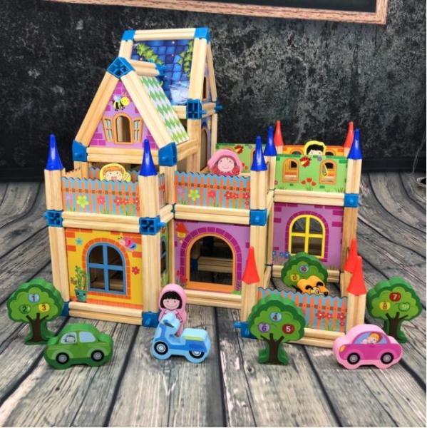 """Set de 268 de piese de construit din lemn natural pentru copii, """"Micul Arhitect"""", educational si creativ cu diferite ilustratii 1"""