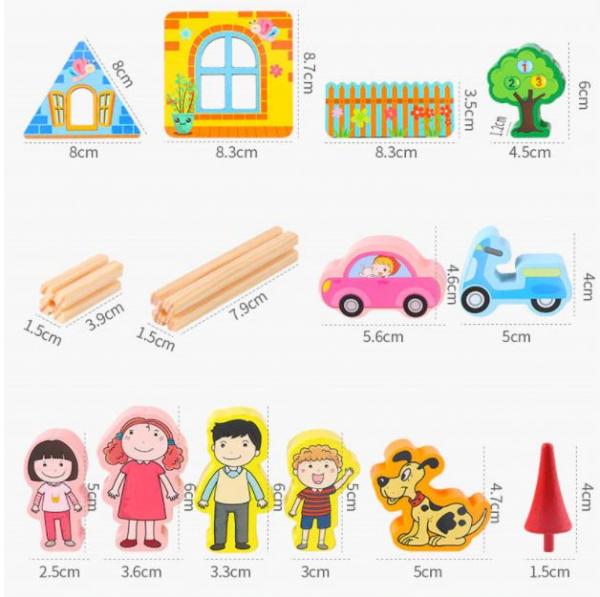 """Set de 268 de piese de construit din lemn natural pentru copii, """"Micul Arhitect"""", educational si creativ cu diferite ilustratii 3"""