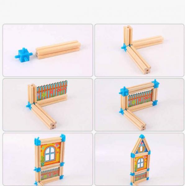 """Set de 268 de piese de construit din lemn natural pentru copii, """"Micul Arhitect"""", educational si creativ cu diferite ilustratii 4"""