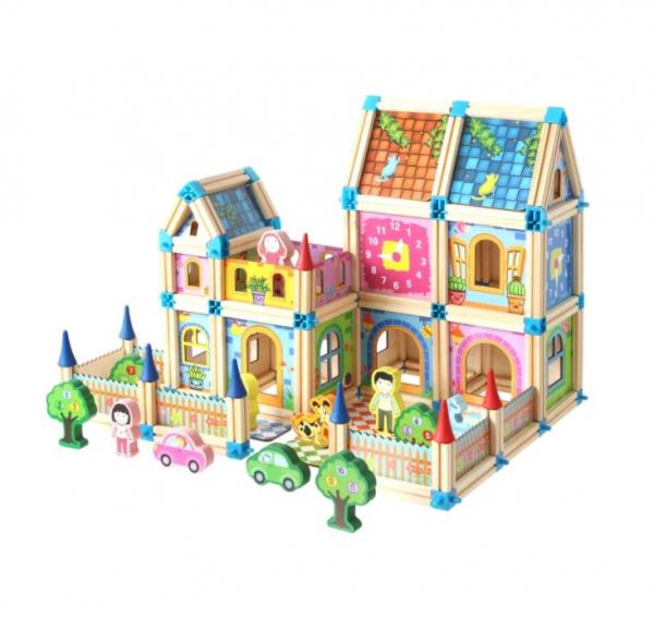 """Set de 268 de piese de construit din lemn natural pentru copii, """"Micul Arhitect"""", educational si creativ cu diferite ilustratii 0"""