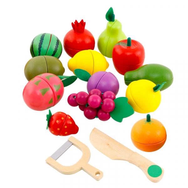 Cos din lemn cu alimente de feliat cu magnet, 16 piese - joc de rol 1