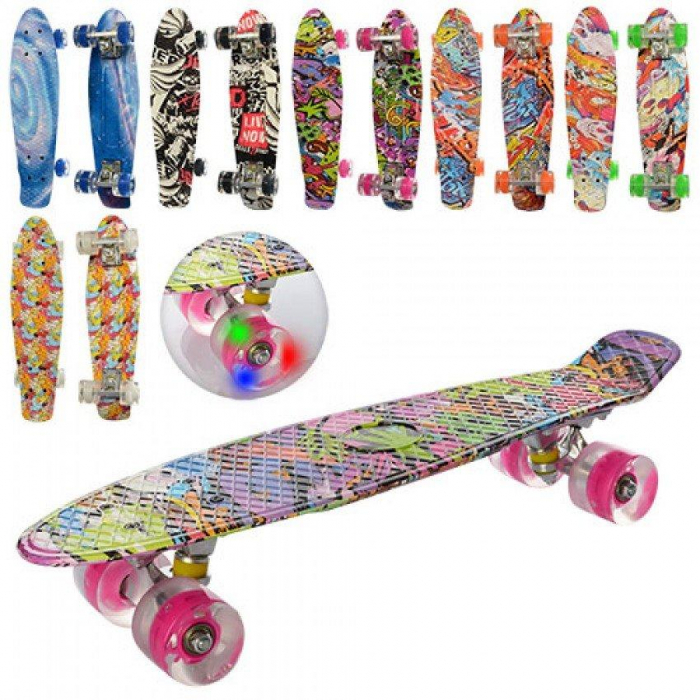 Skateboard copii cu Luminite, Penny Board, Roti din silicon cu lumini LED, ABEC -5  55 cm [0]