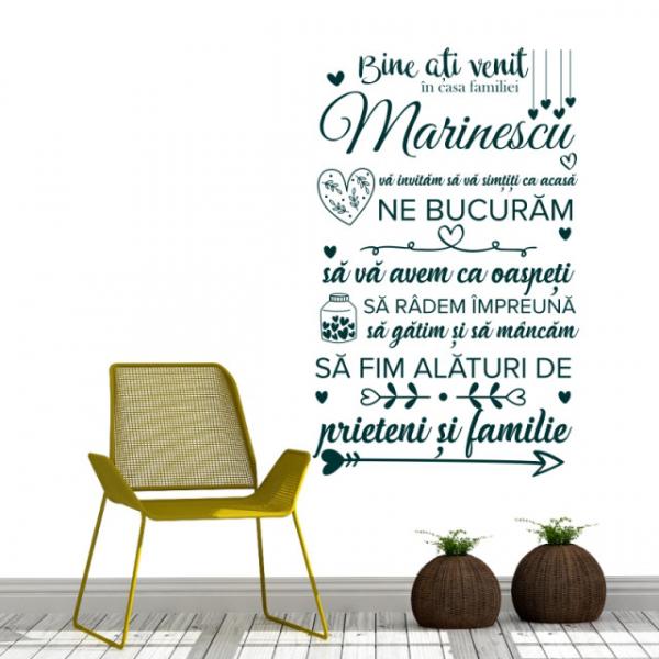 Sticker decorativ - BINE ATI VENIT IN CASA FAMILIEI - FAMILIA TA 2