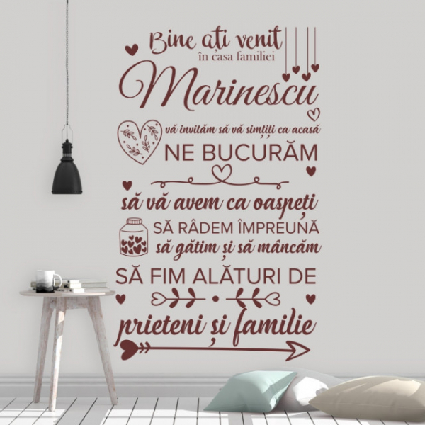 Sticker decorativ - BINE ATI VENIT IN CASA FAMILIEI - FAMILIA TA 0