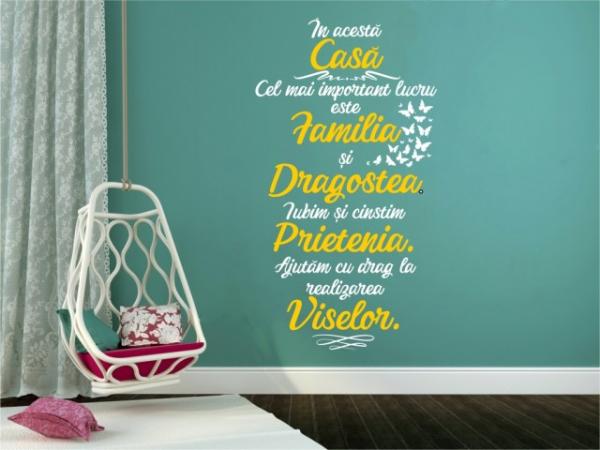"""Sticker decorativ - """"CEL MAI IMPORTANT LUCRU ESTE FAMILIA - BICOLOR"""" 3"""