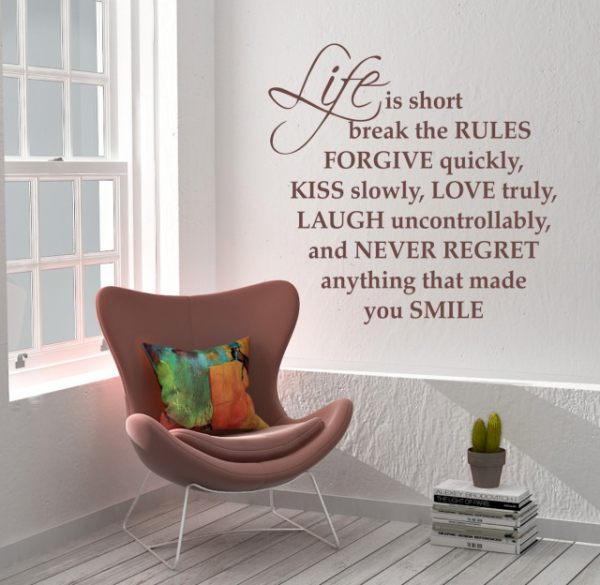 "Sticker decorativ - ""LIFE IS SHORT BREAK THE RULES"" 0"