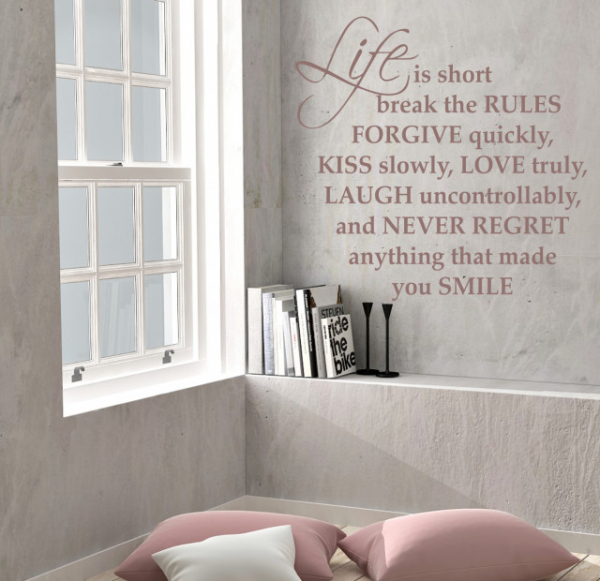 "Sticker decorativ - ""LIFE IS SHORT BREAK THE RULES"" 2"